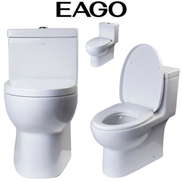 EAGO TB359 Dual Flush High Efficiency Low Flush Eco-Friendly White Toilet