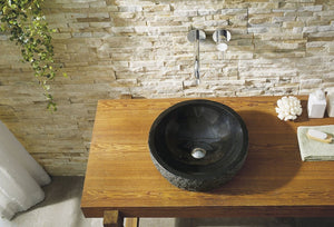 Adonia Natural Shanxi Black Granite Stone Bathroom Vessel Sink