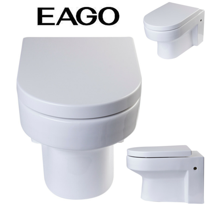 EAGO WD101 Wall Mount Dual Flush Modern White Ceramic Toilet