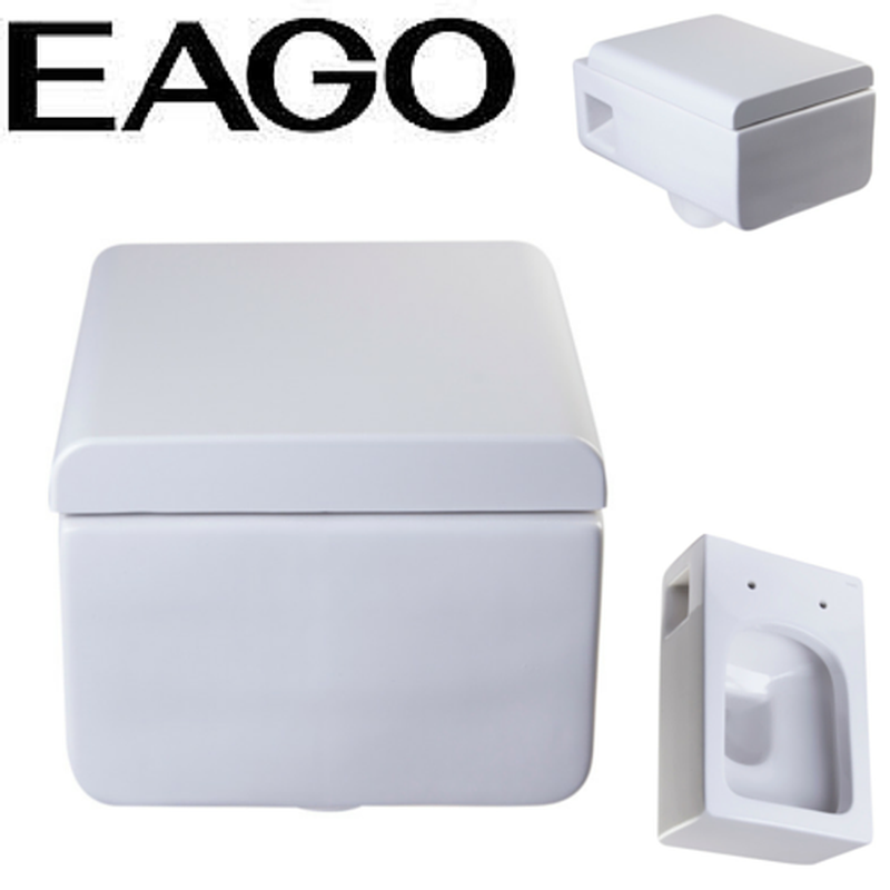 EAGO WD333 Square Modern White Ceramic Wall Mounted Toilet