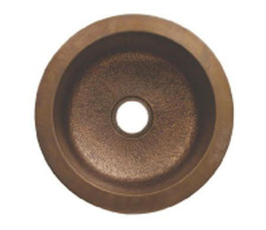 "Buy Whitehaus WH1818COPR 18"" Copperhaus Large Round Smooth or Hammered Drop-In/Undermount Copper Prep Sink - Zen Tap Sinks"