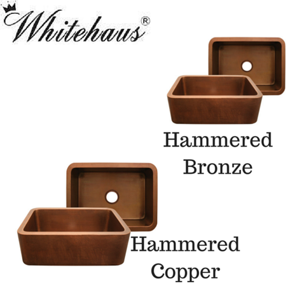 "Buy Whitehaus WH2519COFC 25"" Copperhaus Rectangular Smooth or Hammered Front Apron Copper Kitchen Sink"