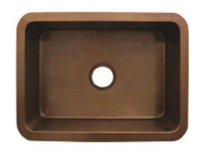 "Buy Whitehaus WH2519COUM 25"" Copperhaus Rectangular Smooth Undermount Copper Kitchen Sink - Zen Tap Sinks"