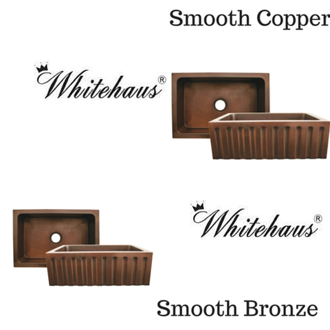 "Buy Online Whitehaus WH3020COFCFL 30"" Copperhaus Rectangular Fluted Design Front Apron Copper Kitchen Sink"