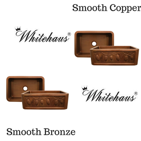 "Buy Online Whitehaus WH3020COFCPC 30"" Copperhaus Rectangular Pine Cone Design Front Apron Copper Kitchen Sink"