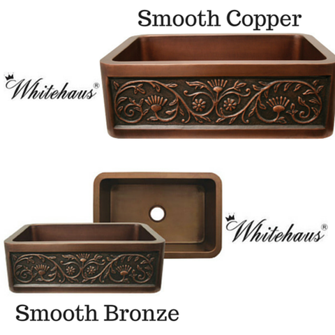 "Buy Online Whitehaus WH3020COFCSF 30"" Copperhaus Rectangular Sun Flower Design Front Apron Copper Kitchen Sink"