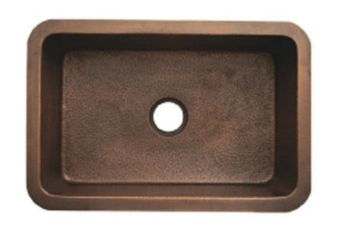 "Buy Online Whitehaus WH3020COUM 30"" Copperhaus Rectangular Smooth or Hammered Undermount Copper Kitchen Sink - Zen Tap Sinks"