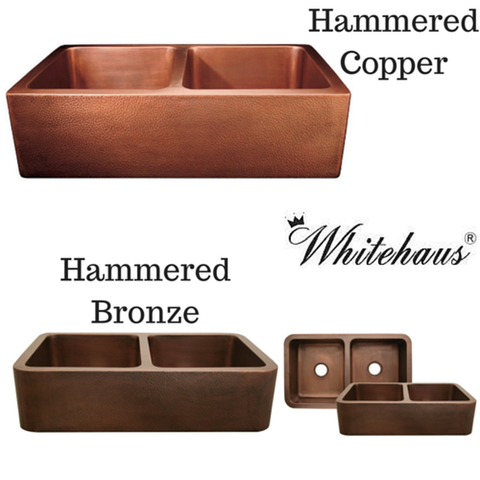 "Buy Online Whitehaus WH3621COFCD 36"" Copperhaus Rectangular Double Bowl Smooth or Hammered Front Apron Copper Kitchen Sink"