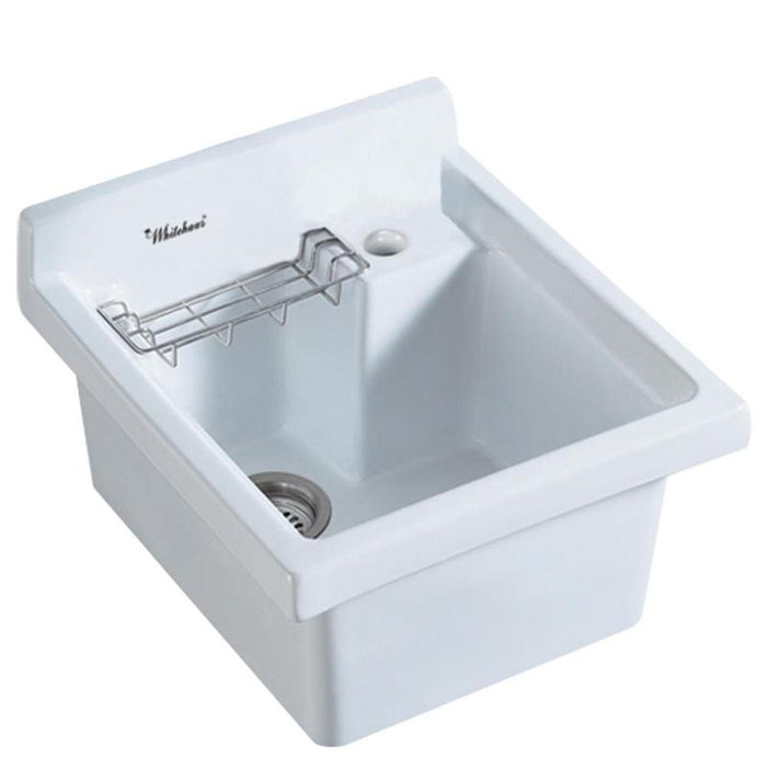 BUY Whitehaus WH474-53 Vitreous China Drop-in Sink with Wire Basket and Off Center Drain - Zen Tap Sinks