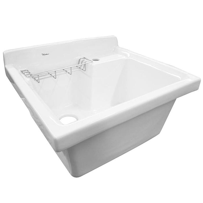 BUY Whitehaus WH474-60 Vitreous China Utility sink with wire basket and off center drain - Zen Tap Sinks