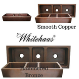 "Online Whitehaus WH5319COFCT 53"" Copperhaus Rectangular Triple Bowl Smooth or Hammered Front Apron Copper Kitchen Sink"