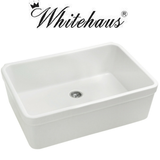 "Whitehaus WHB2620 Single Fireclay Sink With A Smooth Front Apron And 2"" Lip"