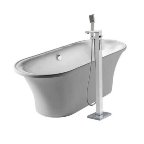 Oval Freestanding Lucite Acrylic Bathtub Kit with 34″ Single Level Tub Filler