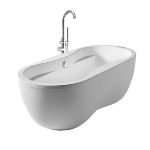 Dual Armrest Double Ended Oval Bathtub Kit with 41″ Single Lever Tub Filler/Shower Spray