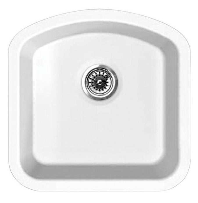 BUY Whitehaus WHE1717D Elementhaus Undermount Single D-Bowl Fireclay Sink - Zen Tap Sinks