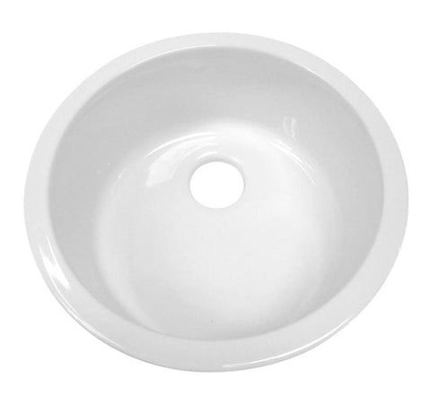 BUY Whitehaus WHE1818R Elementhaus Undermount Circular Single Bowl Fireclay Sink - Zen Tap Sinks - 1