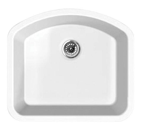 BUY Whitehaus WHE2421D Elementhaus Undermount Large Single D-Bowl Fireclay Sink - Zen Tap Sinks