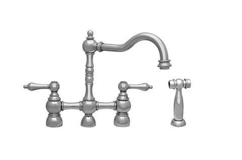 BUY ONLINE Whitehaus WHEGB-34656 Bridge Faucet with Long Traditional Swivel Spout and Side Spray - Zen Tap Sinks - 1
