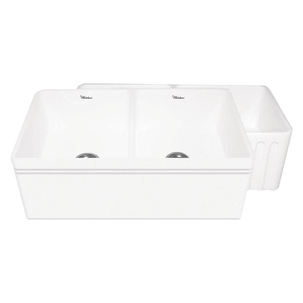 Shop Whitehaus WHFLAL3318 Double Bowl Reversible Fireclay Kitchen Sink - Zen Tap Sinks - 2
