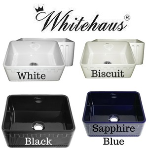 "June Sale Whitehaus WHFLATN2418 24"" Reversible Fireclay Farmhouse Kitchen Sink"