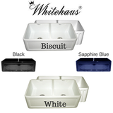 BUY Whitehaus WHFLCON3318 Fluted or Concave Double Bowl Fireclay Farm Sink