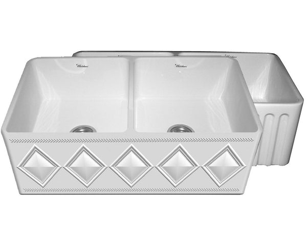 BUY Whitehaus WHFLDI3318 Double Bowl Fireclay Sink With A Diamond Design - Zen Tap Sinks - 1