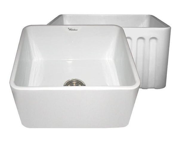 "SHOP Whitehaus WHFLPLN2018 20"" Fluted & Smooth Reversible Fireclay Farm Sink - Zen Tap Sinks - 4"
