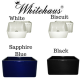 "Whitehaus WHFLPLN2018 20"" Fluted & Smooth Reversible Fireclay Farm Sink"