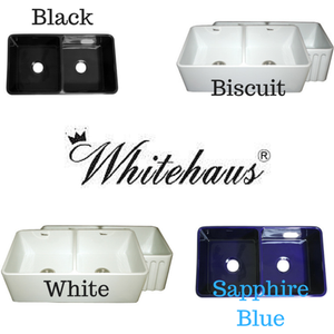 "Whitehause WHFLPLN3318 33"" Double Bowl Reversible Fireclay Farmhouse Kitchen Sink"