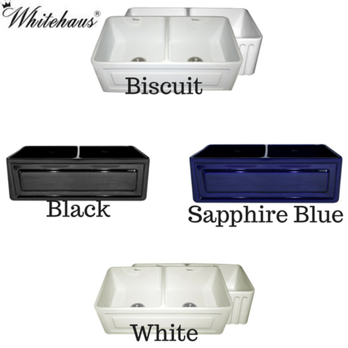 Online Whitehaus WHFLRPL3318 Raised Panel or Fluted Reversible Fireclay Farm Sink