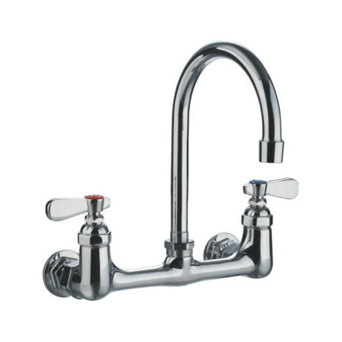 BUY Whitehaus WHFS9814-P5-C Gooseneck Wall Mount Faucet with Lever Handles - Zen Tap Sinks