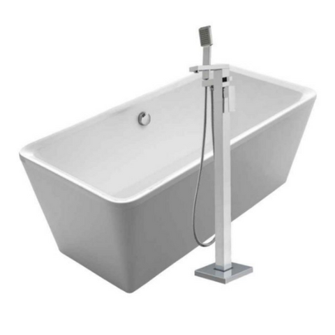 Cubic Style Freestanding Double Ended Lucite Bathtub Kit with 34″ Single Level Tub Filler