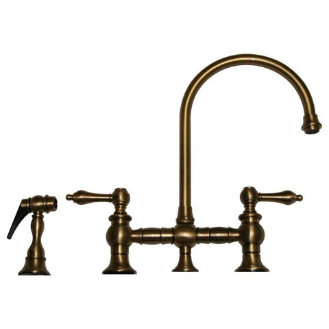 BUY Whitehaus WHKBLV3-9101 Vintage Lever Bridge Kitchen Faucet with Side Spray - Zen Tap Sinks - 1