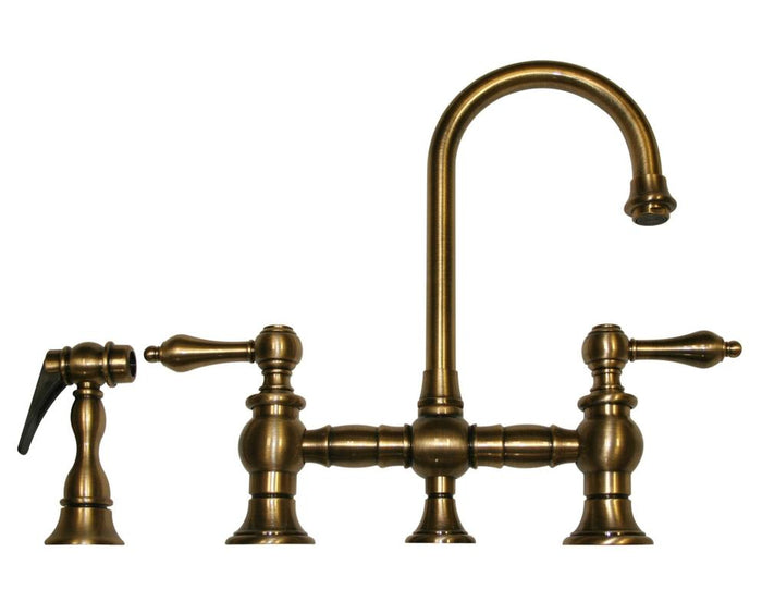 BUY Whitehaus WHKBLV3-9106 Vintage Lever Prep Kitchen Gooseneck Faucet with Side Spray - Zen Tap Sinks - 1