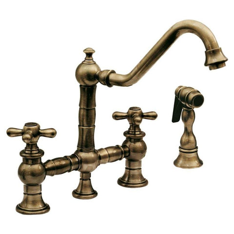 BUY Whitehaus WHKBTCR3-9201 Curved Cross Brass Kitchen Faucet with Side Spray - Zen Tap Sinks - 1