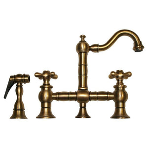 BUY Whitehaus WHKBTCR3-9206 Deck Mount Cross Prep Bridge Faucet with Side Spray - Zen Tap Sinks - 1