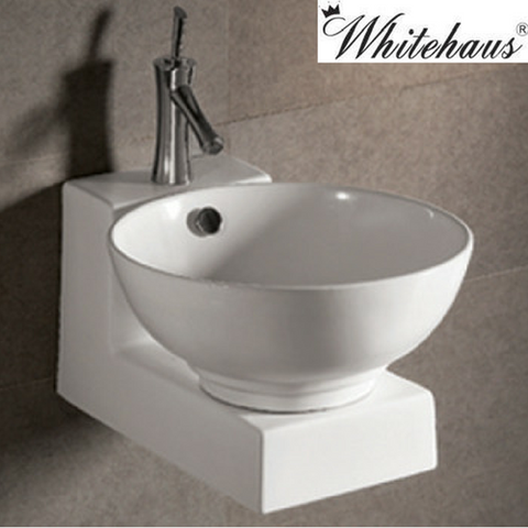 Whitehaus WHKN1051-1060 White Ceramic Round Above Mount Bathroom Sink Basin