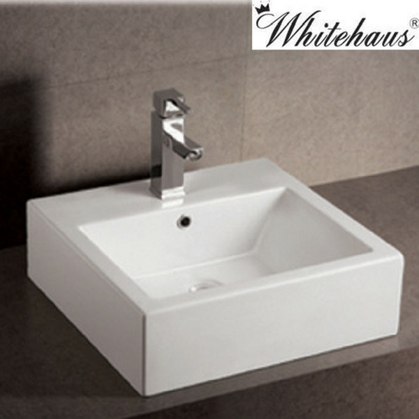 Whitehaus WHKN1059 Ceramic Rectangular Above Mount Bathroom Sink Basin