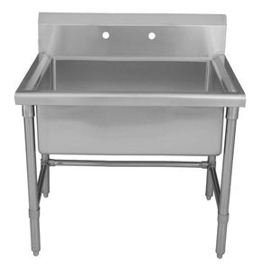 "BUY Whitehaus WHLS3618-NP 36"" Brushed Stainless Steel Freestanding Utility Sink - Zen Tap Sinks"