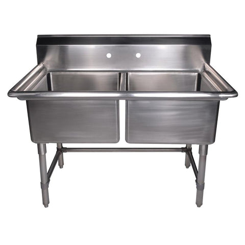 "BUY Whitehaus WHLSDB4020-NP 40"" Brushed Stainless Steel Two Bowl Utility Sink - Zen Tap Sinks - 1"