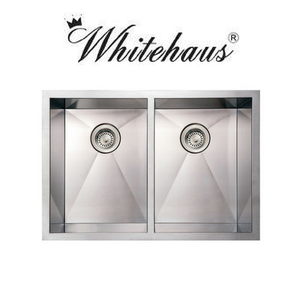 Whitehaus WHNCM2920EQ Stainless Steel 29'' Double Bowl Undermount Sink