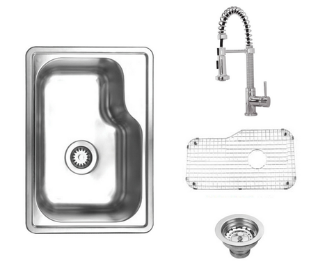 Stainless Steel 19'' Single Bowl Drop-In Kitchen Sink Bundle