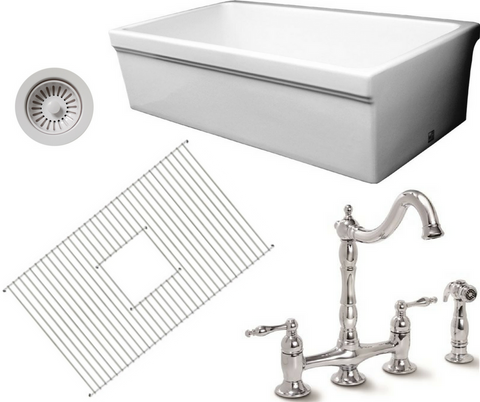 Single Bowl Fireclay 30'' Farmhouse Apron Kitchen Sink Bundle With Faucet & Accessories