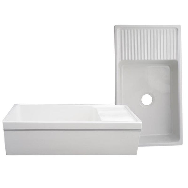 "SHOP Whitehaus WHQD540 Fireclay 36"" Single Bowl Farmhouse Apron Kitchen Sink - Zen Tap Sinks - 4"