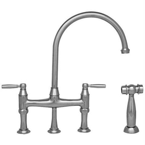 BUY ONLINE Whitehaus WHQNB-34663 Bridge Faucet with a Long Gooseneck Spout and side spray - Zen Tap Sinks