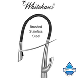 Whitehaus WHS1455-SK-BSS Swanhaus Stainless Steel Single Hole Pull Down Kitchen Faucet
