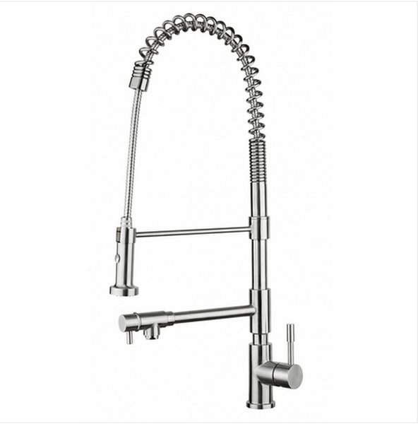 BUY ONLINE Whitehaus WHS1644-SK Commercial Faucet with Flexible Pull-Down Spray Head with Built-In Pot-Filler - Zen Tap Sinks - 1