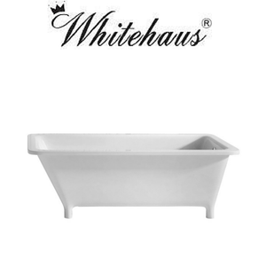 Whitehaus WHSQ170BATH Rectangular Angled Back Freestanding Footed Bathtub