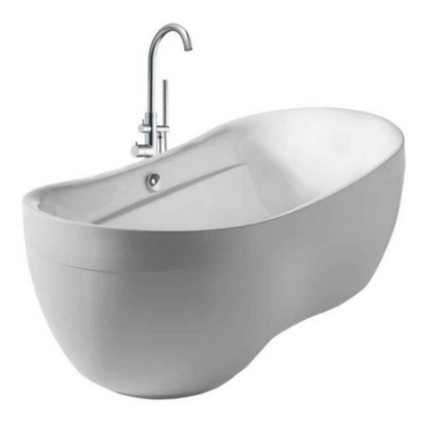 Oval Acrylic Freestanding Bathtub Kit with 41″ Tub Filler