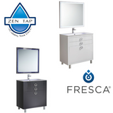 "Fresca Platinum Due 36"" Glossy Bathroom Vanity w/ Mirror"
